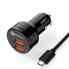 Aukey qualcomm quick charge 2.0 Car charger dual Ports
