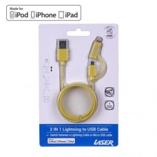 Laser MFI Lightning and Micro USB - Yellow