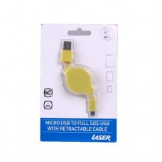 Laser Micro USB to full size USB with retractable cable Yellow