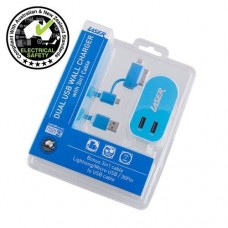 Laser AC Wall Charger Twin USB 2 x 2.4A Output with 3 in 1 Cable
